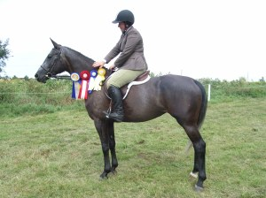 Photo of Tess with ribbons at show