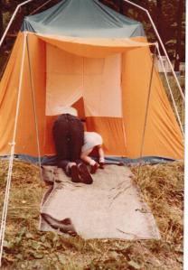 Mom and Lydia setting up the tent 1980 001